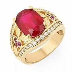 5.00 Ct Natural Ruby and Diamond Ring 14k Gold