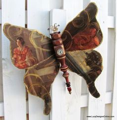 table leg butterfly with vintage print