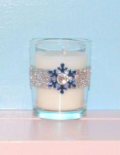 Votive Candle Holder / Winter Wedding Decoration / Bling Wedding Decor / Snowflake Wedding Decor / Silver Glitter / Blue / Rhinestone / 6 on Etsy, $24.99