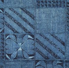 Close up of an Indigo Resist-dye Adire cloth.