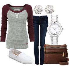 Casual outfit. I wouldn't pair the earrings with this outfit though weekend outfit, cute women clothes, baseball shirts, casual fall, cute outfits, fall outfits, comfy casual, baseball season, casual outfits