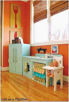 "DIY kid kitchen.... Holy moly, when I typed in ""DIY kid's kitchen"" I was thinking I'd find a cardboard box.  Guess not!  Beautiful!"