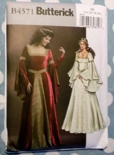 Misses Costume Renaissance Dress Butterick B4571 Pattern, Plus Size 14-20, Uncut         Pretty