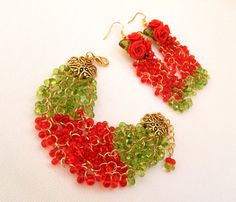 #Roses  #Red  #Green  Roses earrings  #Handmade by insoujewelry