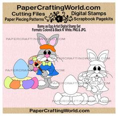 Bunny as Digital Artist Digital Printable. Pre-Colored and Black and White. Direct Link: http://www.papercraftingworld.com/item_782/Bunny-As-Egg-Artist-Digital-Stamp.htm