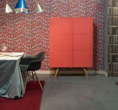 Oak Furniture from Portuguese Brand Matrioskas. Drool. Color. Beautiful Coral.  And the wall paper is cute too.