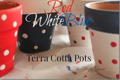 The Thrifty Groove: Red, White and Blue Painted Planters
