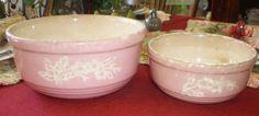 Antique Vintage Pink Cameoware Serving Bowls by by NeldaMaesCloset, $12.50