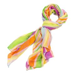 "This Bright Multi Stripe Scarf comes in 4 different bright colors: peach, pink, yellow, and blue. They are perfect for spring and summer. This scarf is made from a light and airy linen with a tight weave. This Peach Bright Multi Stripe Scarf has multiple stripes of color on it. This scarf measures 43"" x 70""."