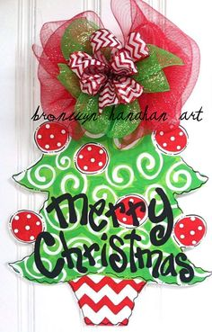 Chevron Christmas Tree Door Hanger  Bronwyn by BronwynHanahanArt, $50.00