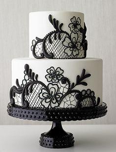 Black Lace Wedding Cake Idea