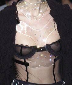Plexiglas necklace and black lingerie