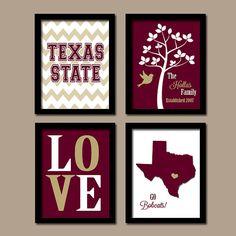 Texas State University College Go Bobcats Custom Family Monogram Initial LOVE Bird Tree Wedding Set of 4 Prints Wall ART Graduation