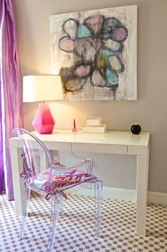 sweet desk area with ghost chair
