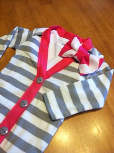 Girls Cardigan and Hairbow set, Baby Girls Christmas outfit, Cardiigsn bodysuit, baby girls clothing