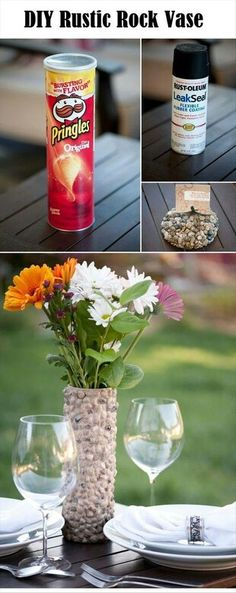 beauti vase, project, idea, rock vase, crafti