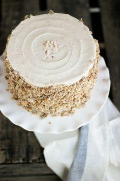 spiced Oat cake with ginger plum buttercream & oat crunch