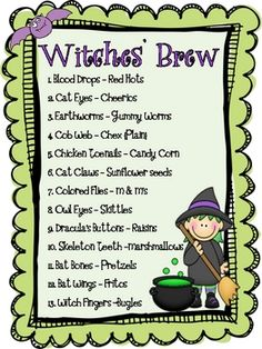 October writing activity-Witches' Brew