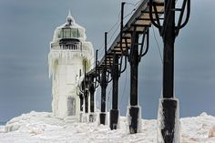 """Frozen Light""   St. Joseph Northpier Lighthouse"