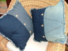 . denim pillow, vieux jean