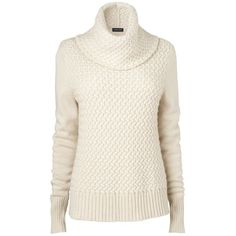 Jaeger Basketweave cowl neck sweater ($355) ❤ liked on Polyvore