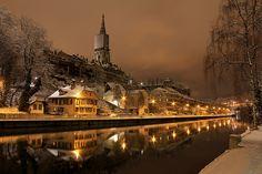 christmas markets, night lights, snow, bern, winter wonderland, switzerland, places, travel, rivers