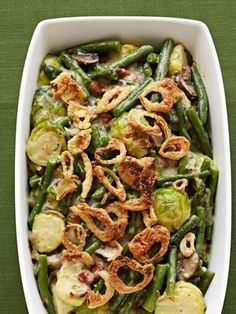 Green Beans and Brussels Sprouts #thanksgiving #sides #holidays #veggies