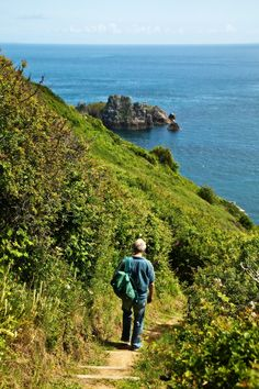 Following the path on the scenic coastal cliffs in Guernsey.