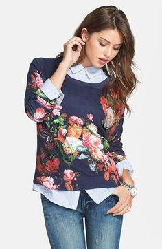 floral sweater + boyfriend jeans