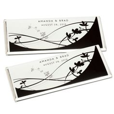 Black and White Floral- Large Hershey's® Chocolate Bar Wrappers | #exclusivelyweddings | #blackandwhitewedding