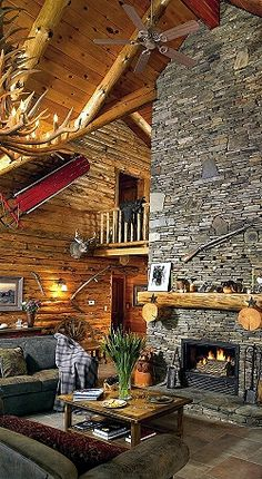 What an awesome room with fireplace !!