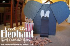 ❤ LOVE this Elephant box!!!❤  Preschooler Feed the Elephant Game to help kids  practice upper and lower case alphabet letters #alphabet #preschool #kidsactivities #freeprintable