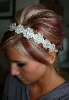 wedding dressses, hair colors, something old, red hair, headband, hair pieces, blond, hairstyl, red highlights