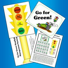 """The Go for Green Stoplight Management System is a classroom-proven method designed to make classroom management both easy and effective. This Mini Pack includes the printables and patterns that you need to create a stoplight bulletin board in your classroom; all you need to add is the numbered library card pockets. Two """"time out"""" forms are included along with a class chart for tracking behavior throughout the week. Complete directions included. $ Preview the entire packet online."""