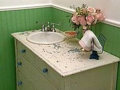 Old Farmhouse Idea. A dresser with a corner sink. NICE