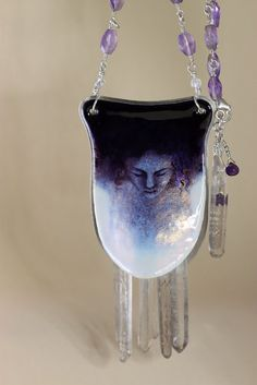 Cold - Vitreous enamel and sterling silver necklace. $720.00, via Etsy.