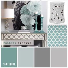Benjamin Moore paint colors from left to right: Azure Water, Wales Gray, Gunmetal and Coventry Gray (on the walls).