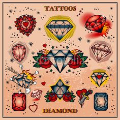 Diamond tattoo flash, middle one for a chest piece????