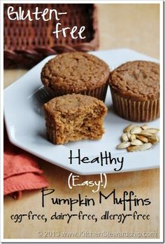Easy Gluten-free One-Bowl Pumpkin Muffins (also egg-free, dairy-free, nut-free, corn-free, soy-free and refined sugar-free) Kid-friendly and delicious :: via Kitchen Stewardship