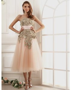 Vintage Gold Inspired Lace and Tulle, Tea Length Bridesmaid gown.