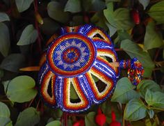 Beautiful large beaded bun cover and pick    Northern Cheyenne