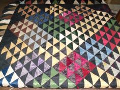 """Vintage Cutter Quilt Made from Silk Neckties 64x64"""" Scalloped Edges (6145-5)"""