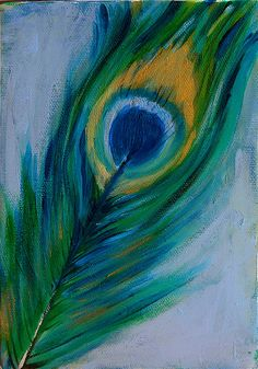 Peacock feathers on pinterest peacock feathers feathers for Easy peacock paintings