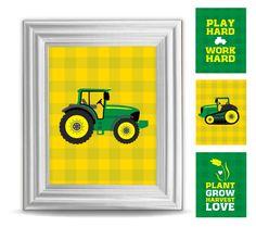 https://www.facebook.com/vanessaheimdesign Green Tractor, Decor, Children, Boys Bedroom, John Deere Inspired, Nursery Prints, Frameable, Harvest, Farm Theme