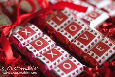Customizable Valentine's Day Treats via Kara's Party Ideas KarasPartyIdeas.com #valentinesday #valentinesdayprintables #valentinesdaytreats ...