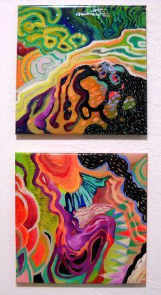 12 X 24 Abstract painting diptych by BethGarren on Etsy