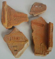 Fragments of fired clay tiles with the stamp of Legio IV Flavia Felix. 106 AD.