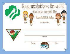 Brownie Household Elf Badge Certificate