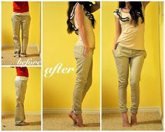 C: Tailoring your trousers! This girl is so cute and has tons of great sewing tips.