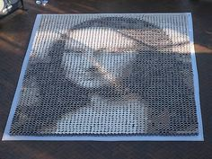 Mona Lisa made from cups of coffee